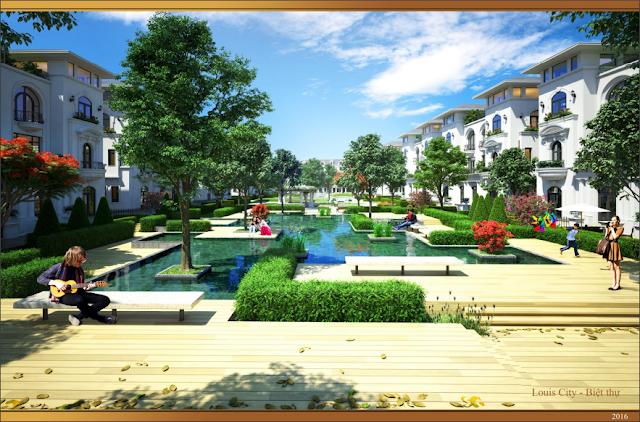Phối cảnh biệt thự và khuôn viên xanh Louis City