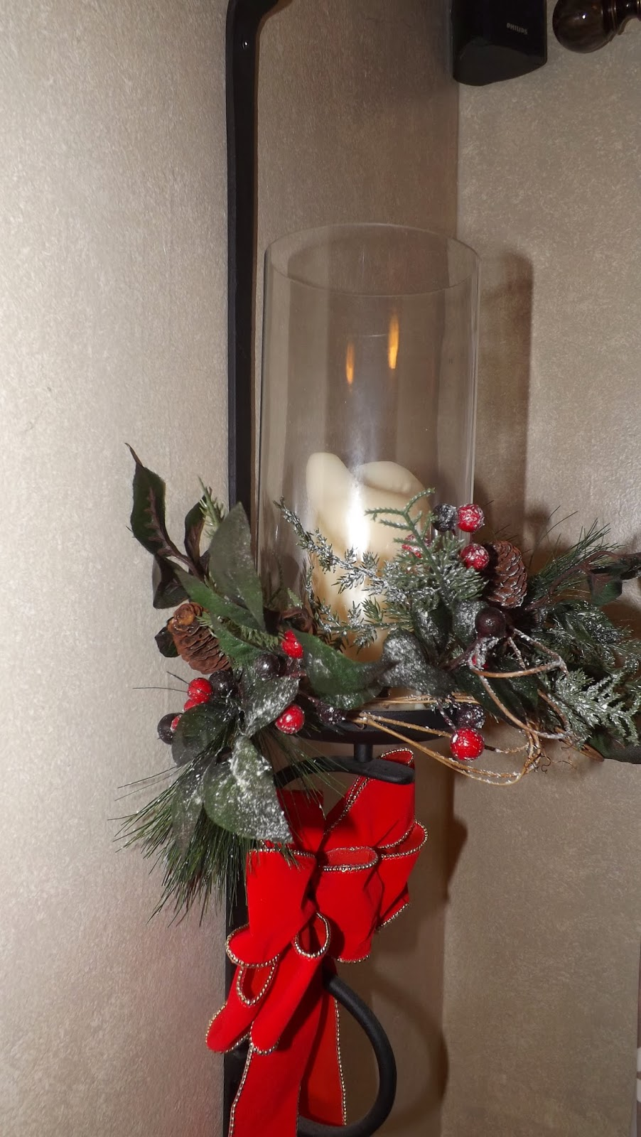 Home Food Garden Wall Sconces Decorated For Christmas