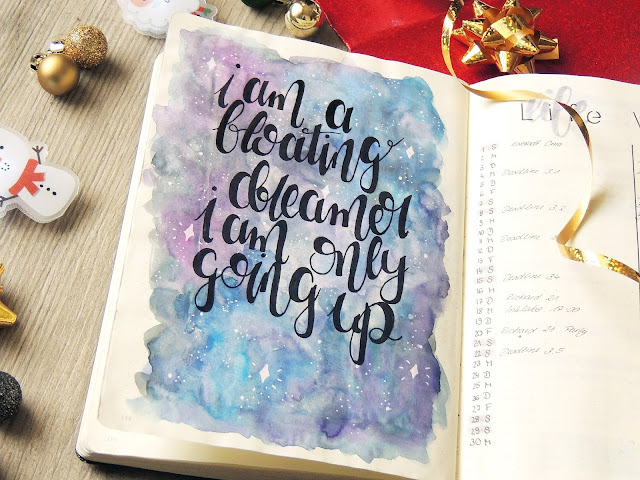 bullet journal watercolour quote pages blogmas glitter isblack