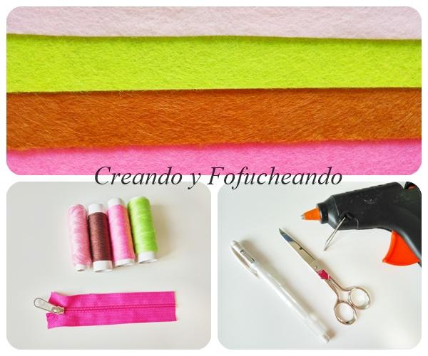 Materiales-monedero-Flor-de-cerezo-en-Fieltro-paso-a-paso