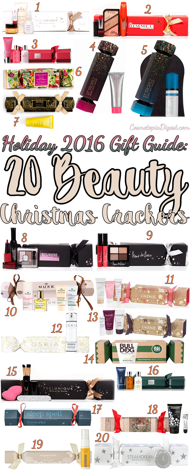 20 beauty Christmas crackers, with makeup and skincare - great budget Holiday gift ideas!