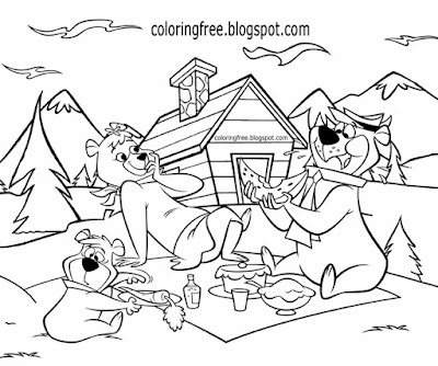 Free US kids coloring Yogi Bear sketch NP camping vacation natural countryside pleasant wooden cabin