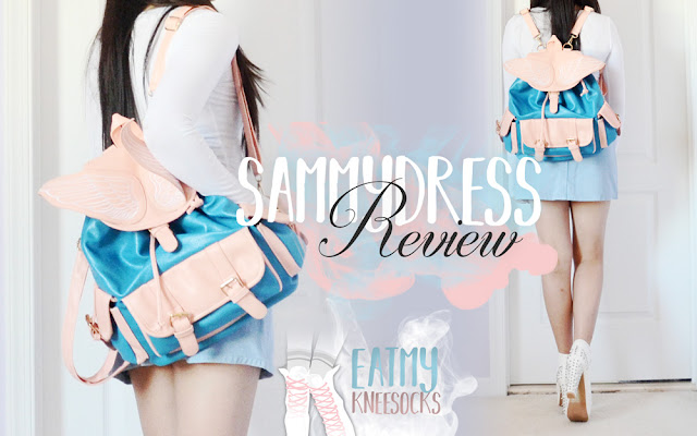 Hi guys! I disappeared for a bit due to exams and schoolwork, but I'm back now with a review of a store I've never previously featured on this blog: Sammydress! I figured I should switch things up a bit from the regular clothing hauls, so here's an accessories/bag haul featuring a white satin embroidered baseball cap and pink-and-blue pastel winged backpack. - Eat My Knee Socks / Mimchikimchi