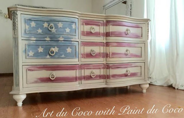 flag dresser, painted flag on a dresser, painted dresser, painted 4th of july dresser