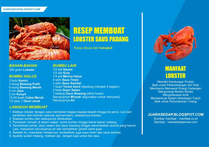 Resep Lobster Saus Padang dan Manfaat Lobster