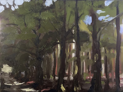 wood lane, plein air oil painting by Philine van der Vegte