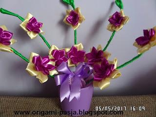 kwiat, storczyk ze wstążki, na prezent, dzień matki, dzień ojca, na grób, fiolet, doniczka, kremowy, zielony, wstążka, kokarda,