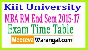 Kiit University MBA RM End Sem 2015-17 Exam Time Table
