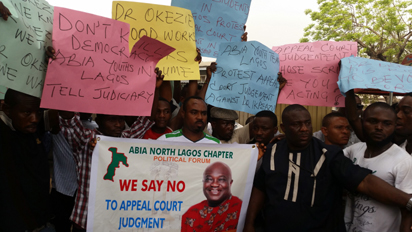 Youths Protest In Lagos, Ask Supreme Court To Uphold Ikpeazu's Election(PHOTOS)