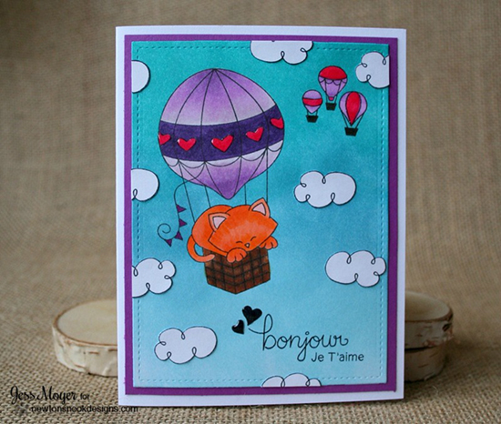 French Kitty in Hot Air Balloon Valentine Card by Jess Moyer   Newton's Nook Designs   Newton Dreams of Paris Stamp Set