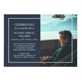 Men's Blue Minimal Memorial Service Invite Design