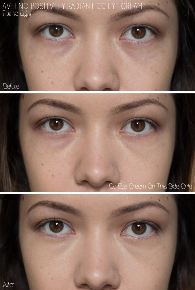 aveeno postively radiant cc eye cream fair to light before and after example