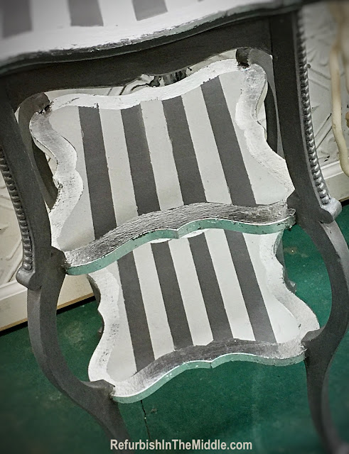 gray, white and silver striped table painted with chalk paint