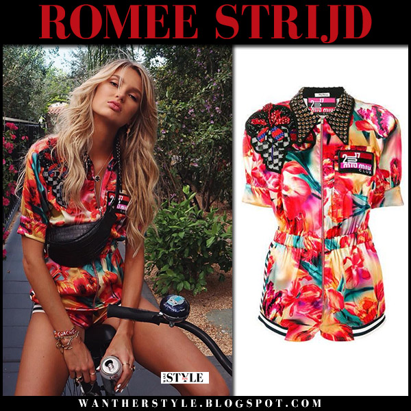 Romee Strijd in red floral print playsuit miu miu model summer style april 17