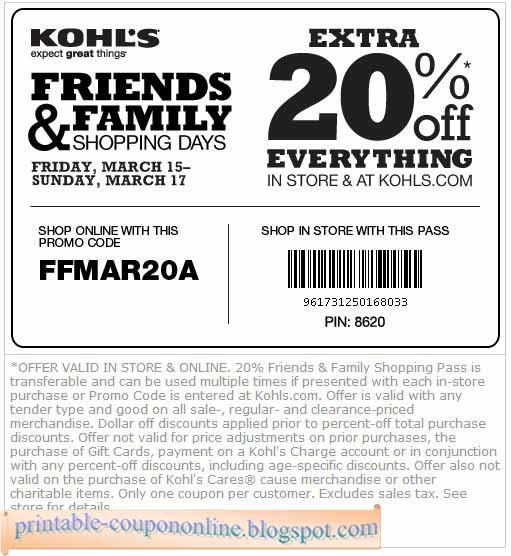 Kohls coupon code march 2018
