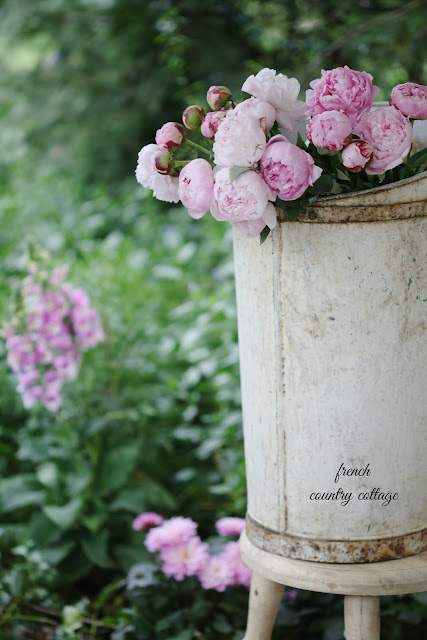 Peonies in a painted bucket outdoors
