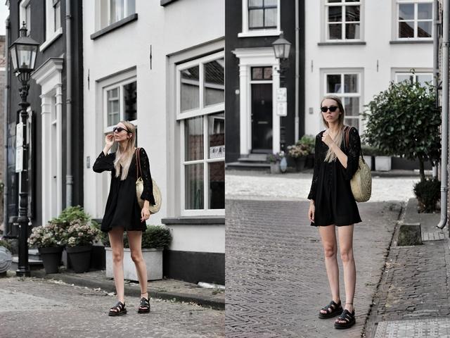Outfit met ronde rieten tas uit Valencia zwarte kanten Boohoo jurk chunky sandalen met plateau zool Dr Martens analoge camera mode blog Gelderland