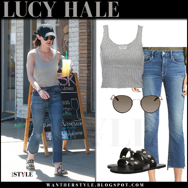 Lucy Hale in grey top and cropped jeans frame denim what she wore june 20 2017