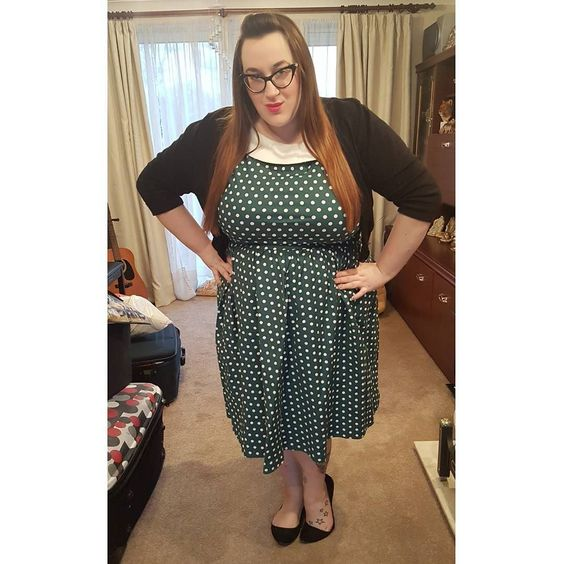 Plus size Dolly and Dotty 'Cindy' Polka Dot Vintage Dress