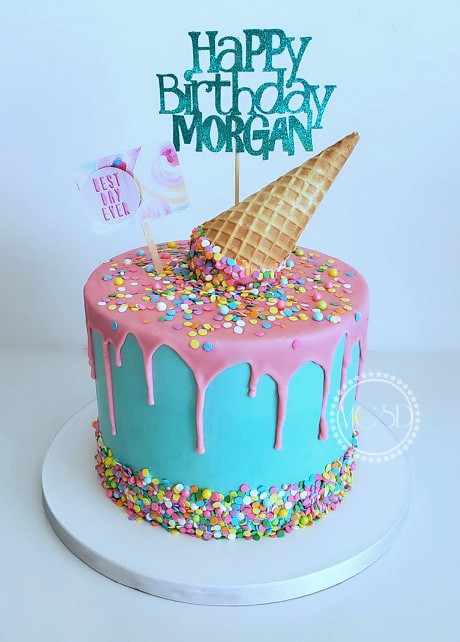Remarkable Cakesbyzana Ice Cream Cone Drip Cake Funny Birthday Cards Online Sheoxdamsfinfo