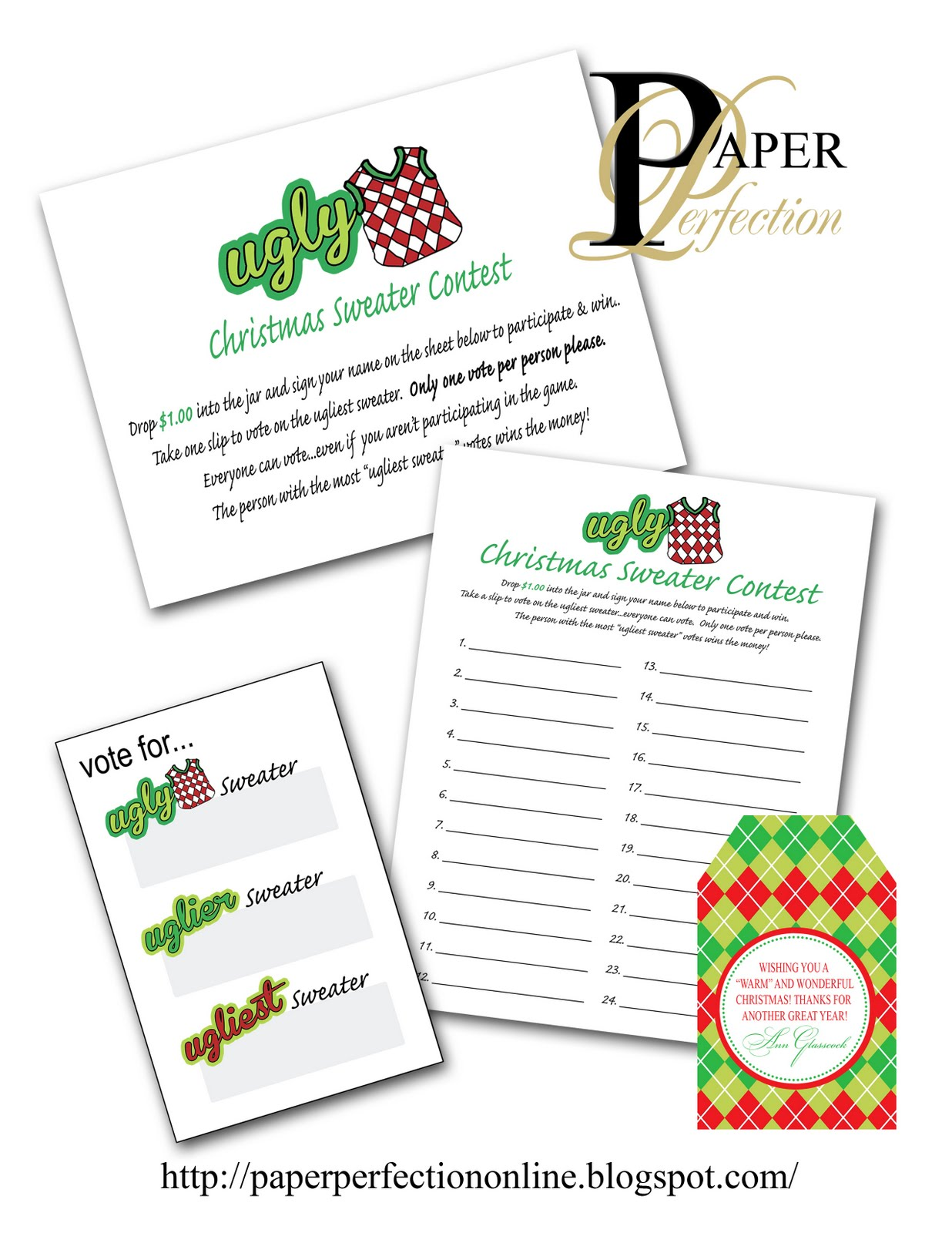 Paper Perfection Ugly Sweater Christmas Party Game