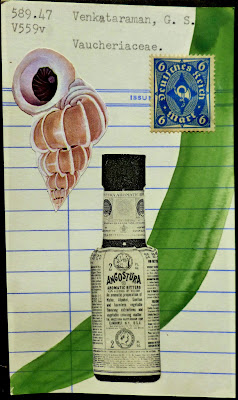library card postage stamp mail art Fluxus collage