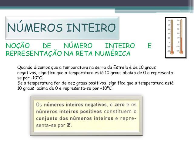 NOÇÃO DE NÚMERO INTEIRO E REPRESENTAÇÃO NA RETA NUMÉRICA