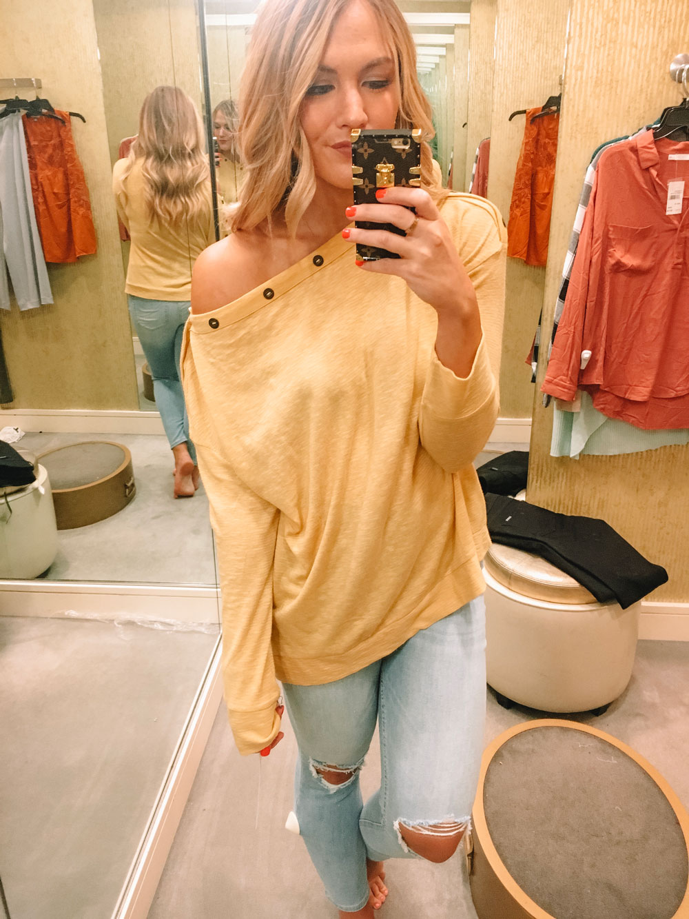 N-Sale Yellow Button Top