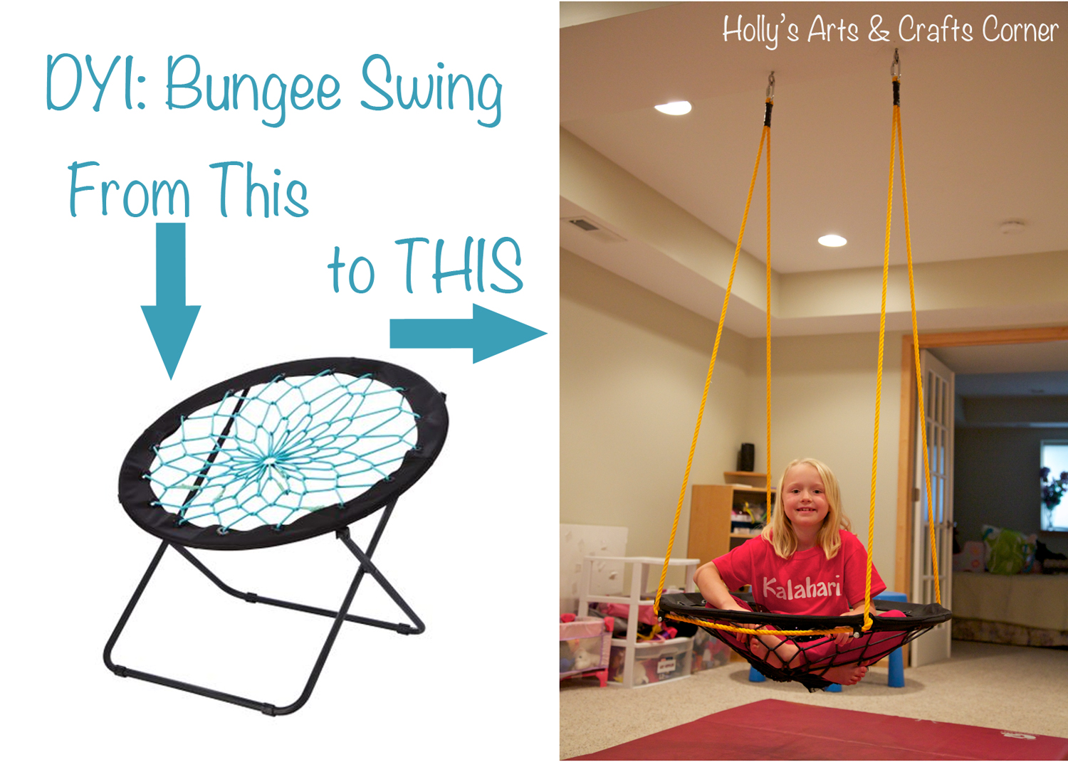 Bungee Cord Chair Diy Wayfair Canada Covers Holly S Arts And Crafts Corner Project Basement Swing I Knew The Cords Would Be Great Sensory Input For My Kids Bodies When You Add In Movement From Bonus