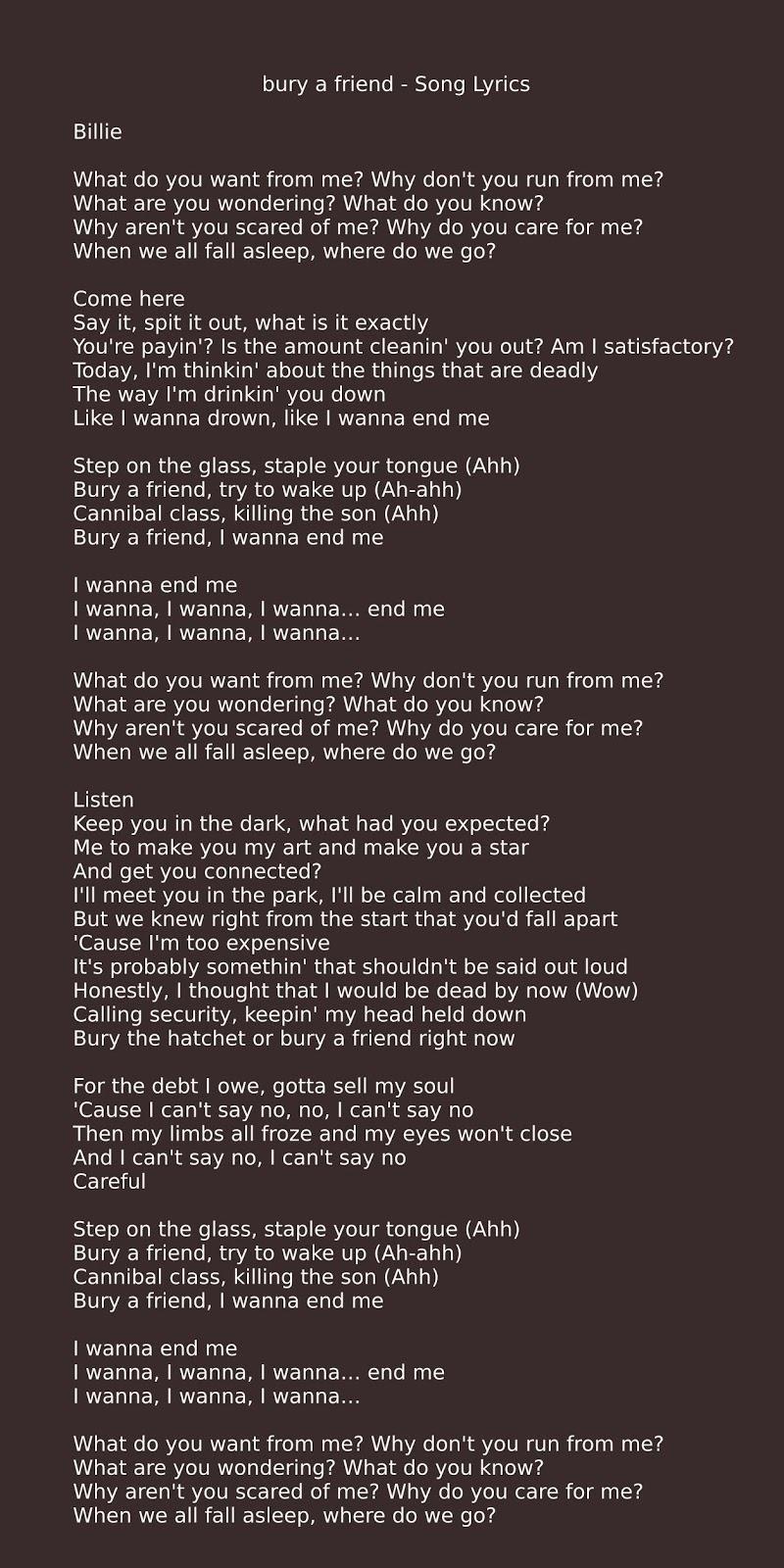 Bury A Friend Song Lyrics