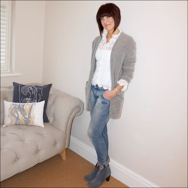 Midlife fashion, hm mohair cardigan, zara lace top, zara vest top, zara distressed boyfriend jeans, hush thornton ankle boots