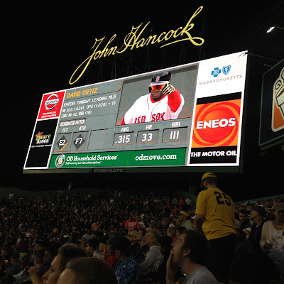 David Ortiz on the Jumbotron in the Bleachers at Fenway Park