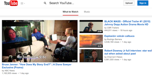YouTube Tests Borderless Search Box