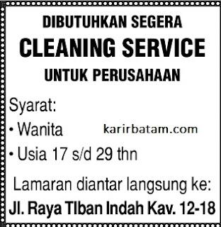 Lowongan Kerja Cleaning Service Tiban