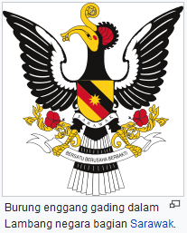 Burung Enggang gading dalam Lambang negara bagian Sarawak. gambar wisataarea.com