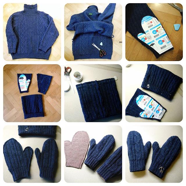 DIY návod na  čepici, šálu a rukavice ze svetru