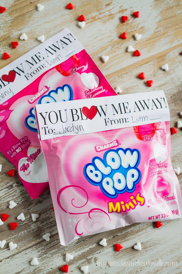 A cute and easy free printable for Valentine's Day.  Works great with Blow Pop Minis or with Big Chew Bubble Gum.  |  mynameissnickerdoodle.com