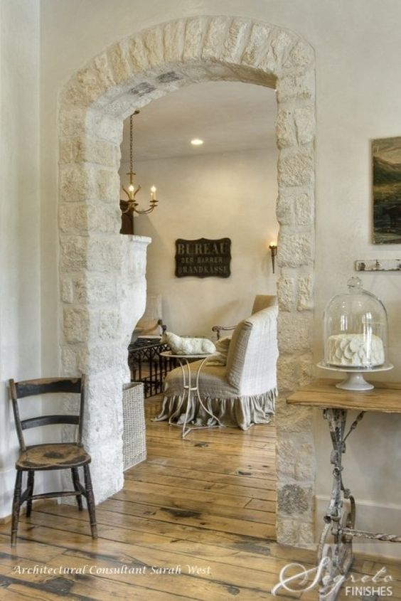 Gorgeous #FrenchFarmhouse interior design and decor on Hello Lovely Studio #limestone #FrenchCountry