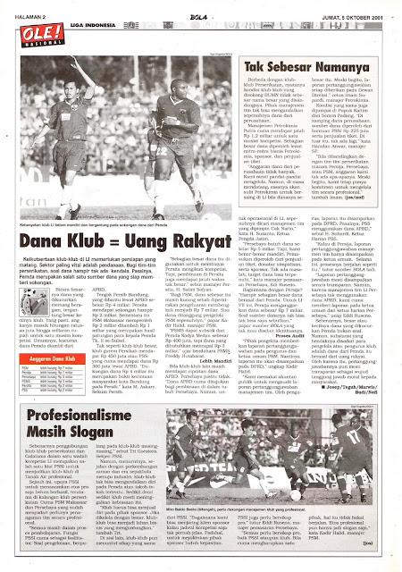 LIGA INDONESIA: DANA KLUB = UANG RAKYAT