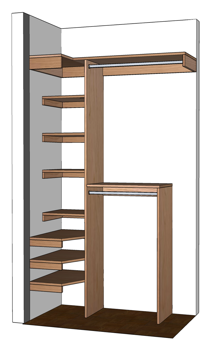 Diy small closet organizer plans for Bedroom cupboard designs small space