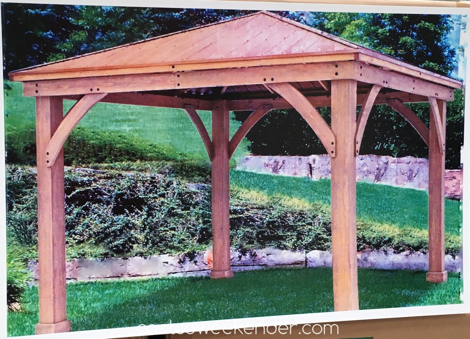 Yardistry 12 39 x 12 39 wood gazebo with aluminum roof for Pergola aluminum x