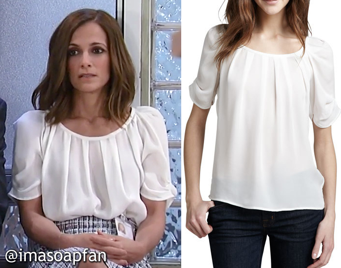 Hayden Barnes, Rebecca Budig, Gathered White Blouse, Joie, GH, General Hospital, Season 55, Episode 05/12/17