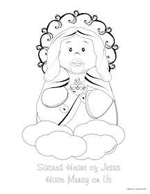 Life love sacred art a free cute sacred heart of for Sacred heart of jesus coloring page
