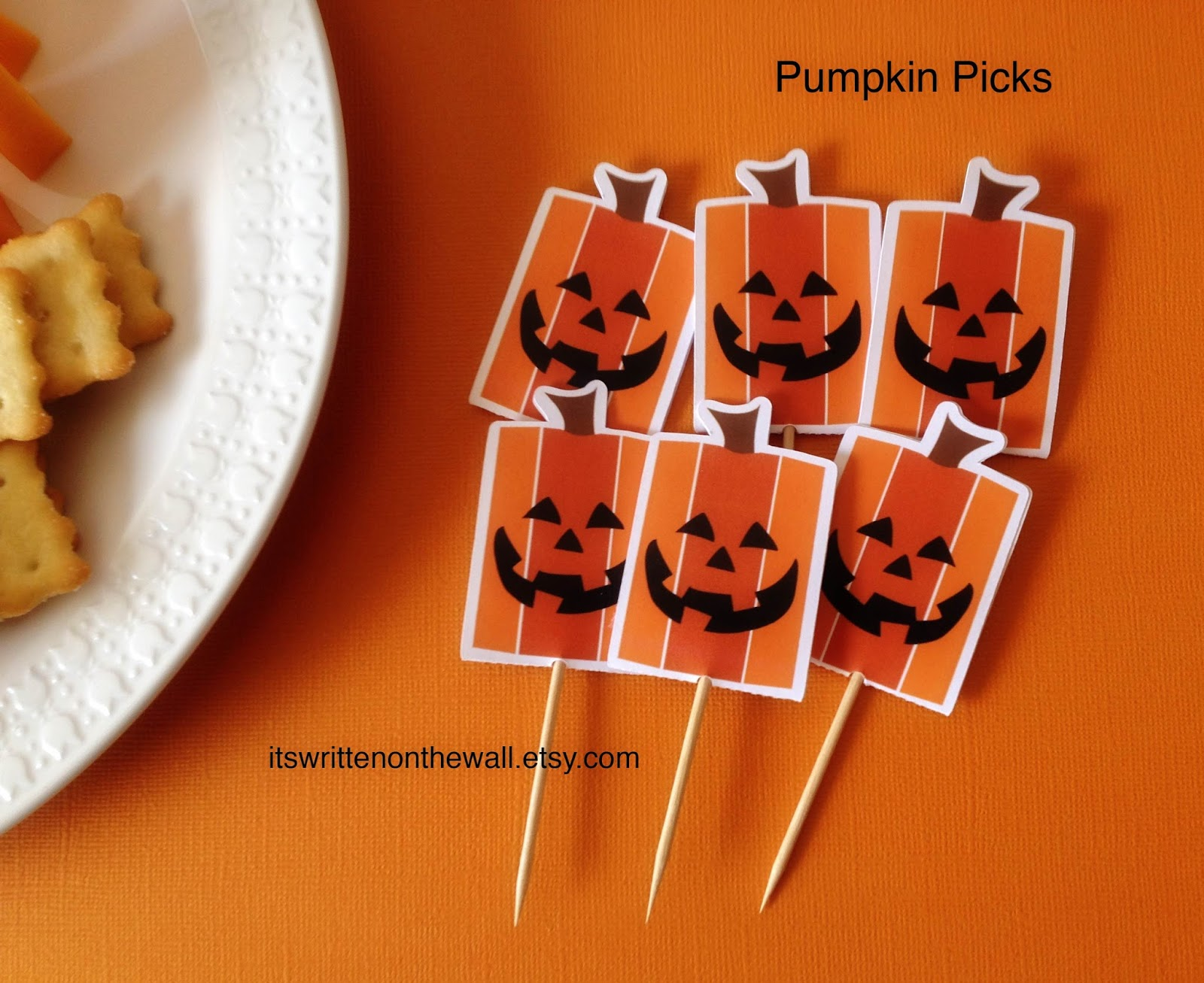 use toothpicks in the pumpkin pics so you can add them to smaller food plates the opening in the food pick is larger enough for a skewer or a toothpick
