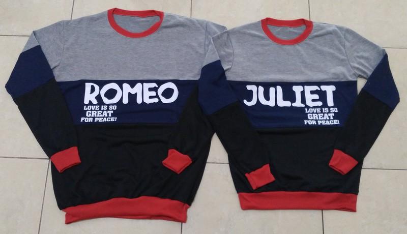 Jual Online Sweater Romeo Juliet Abu Couple Murah Jakarta Bahan Babytery Terbaru