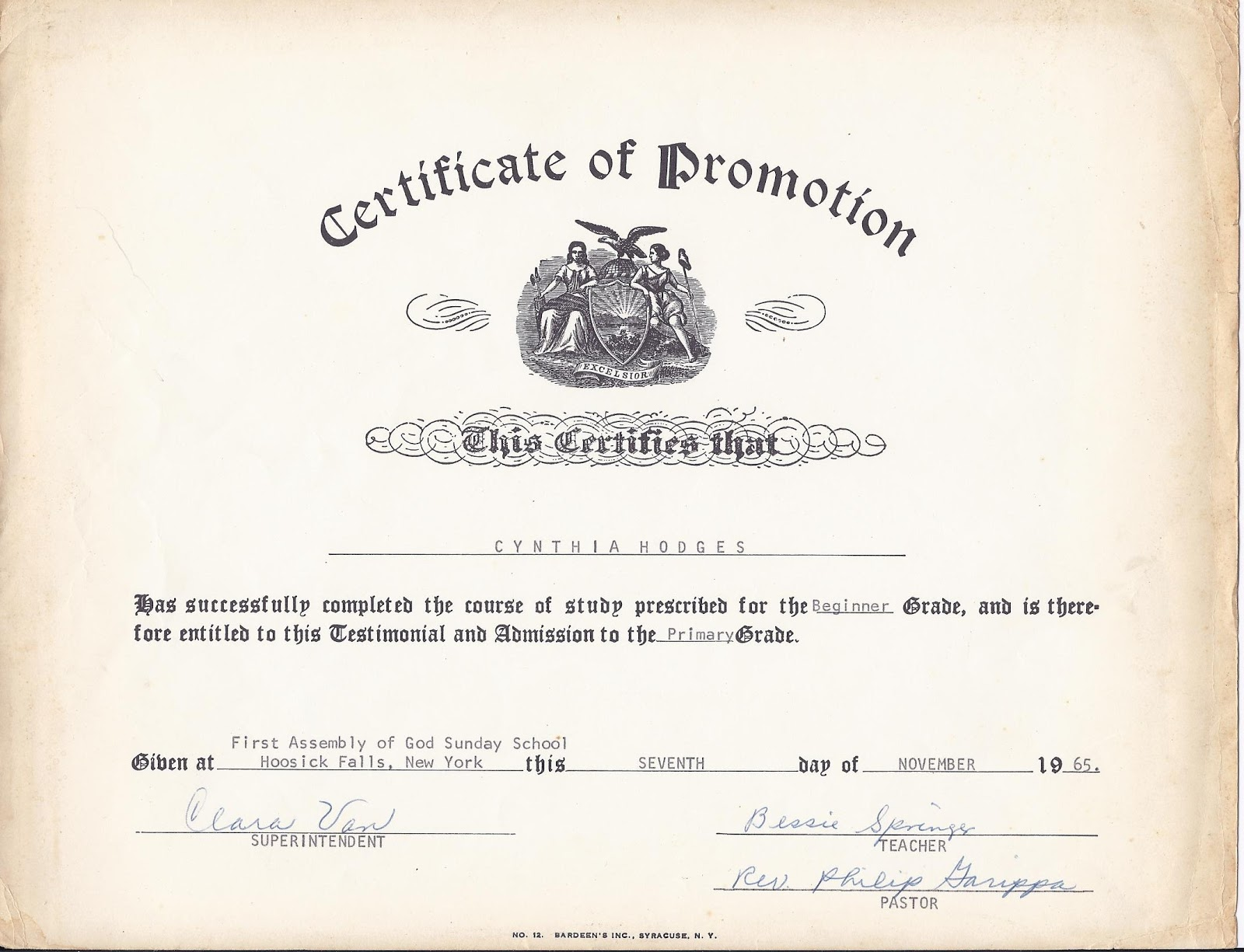 family happenings certificate of promotion
