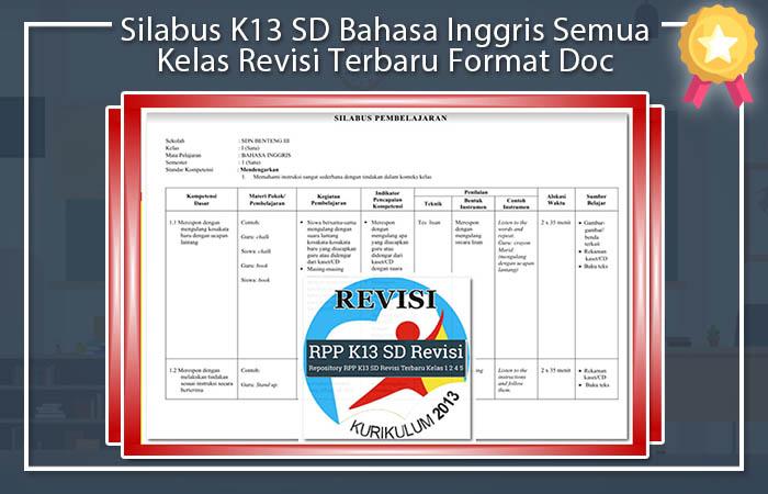 Silabus K13 SD Bahasa Inggris Semua Kelas Revisi Terbaru Format Doc