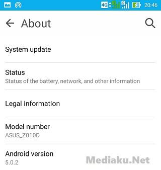 Mengetahui Versi Android HP Asus ZenFone Max
