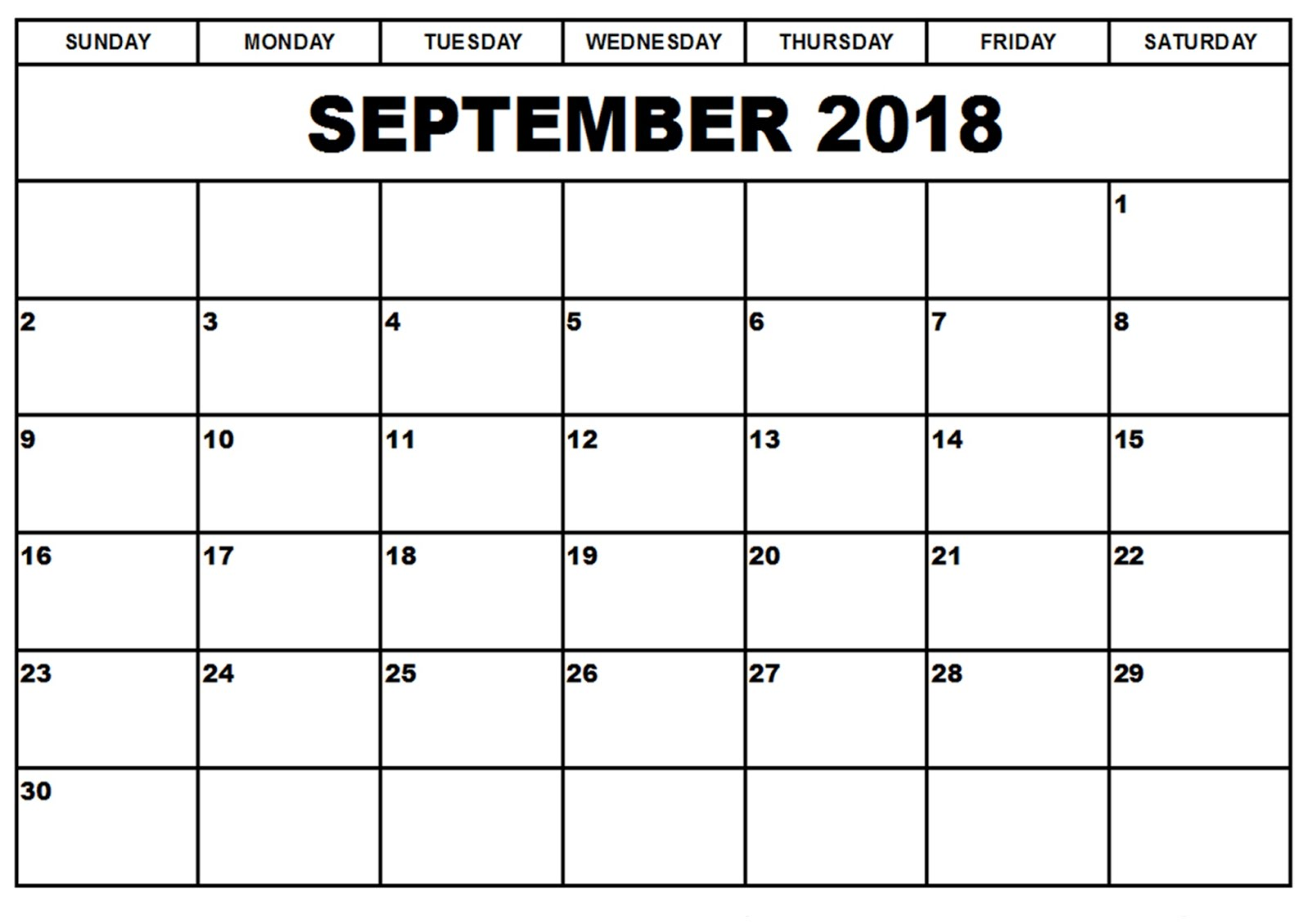 September Editable Calendar
