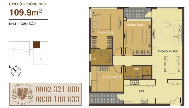 căn hộ 110m2 thiết kế 3 phòng ngủ tại The Prince Residence